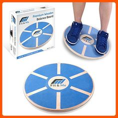Fit&Me Wooden Wobble Balance Board - Video Exercises Included - Perfect for Exercise, Fitness and Physical Therapy - Improve Balance, Tone Muscles & Strengthen Core - Fun stuff and gift ideas (*Amazon Partner-Link)