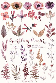 This set of high quality hand painted watercolor floral Elements. Perfect graphic for wedding invitations, greeting cards, photos, posters, quotes and