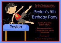 Boys Gymnastics Birthday Invitation Boys Gymnastics Birthday Party Invitation Boy Gymnastics Invite Printable. $15.00, via Etsy.
