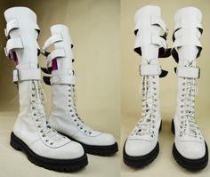 80s 90s Grunge Punk White Leather Terry De Havilland Magic Shoes Lace Up Triple…