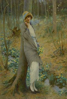 View Woman in a Spring landscape by William Henry Margetson on artnet. Browse upcoming and past auction lots by William Henry Margetson. Art Deco Illustration, Illustrations, Marsh Marigold, Franz Xaver Winterhalter, English Artists, Spring Landscape, Pre Raphaelite, Impressionist Art, Art Themes