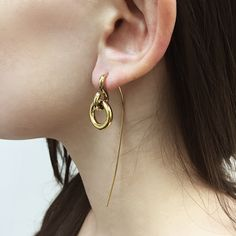 The contrasting lines and circles of the Haden earrings are perfectly pieced together to hang magnificently on your ear, becoming a regal feature to any outfit. Length is 5.5cm at the back and 2.5cm in the front.