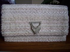 Beaded Hand Woven Clutch with Vintage Rhinestone and Silver Closure from mariehelenecreations on etsy $230