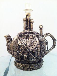 techno steampunk teapot lamp base by richardsymonsart on Etsy