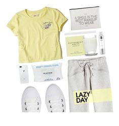 """Lazy Day"" by aesthetictm ❤ liked on Polyvore featuring adidas, Hollister Co., Ouai, Converse and House Doctor"