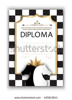 vector template certificate of the winner of the chess tournament. diploma of participation in a chess competition for printing. Chess vector background