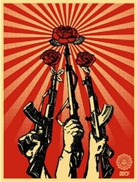 Guns and Roses by Shepard Fairey is a street artist forcing society to look at war using social and political activism though his art work. He uses images of propaganda from the 50s and 60s especially from Russia taking misleading images promoting war and turning them into art. In this image there is a sense of emotion towards  peace and war and having that peace instead of war.