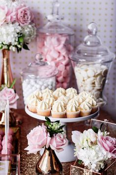Cupcakes + Candy Bar + Florals from a Copper, Pink & Gold Princess Party via Kara's Party Ideas | KarasPartyIdeas.com (17)