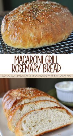 This delicious Macaroni Grill Rosemary Bread is not complicated in the least and is free-formed, eliminating the need for bread pans. Never been to Macaroni Grill but this bread was awesome! Sliced some into squares and used it for hamburgers. Pan Bread, Bread Baking, Bread Machine Recipes, Rosemary Bread Machine Recipe, Grilled Bread, Bread And Pastries, Artisan Bread, Bread Rolls, Restaurant Recipes