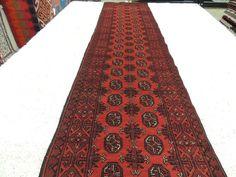 Afghan Hand Knotted Turkman Hallway Runner Size: 477cm x 84cm