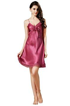 Kisvian Women s 100% Mulberry Silk Nightgowns Slip Chemise Sexy Sleepwear  at Amazon Women s Clothing store  ba32f7618
