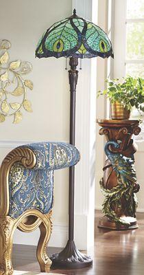 Stained Glass Peacock Floor & Table Lamps - Midnight Velvet