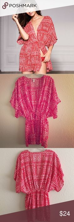 """NWOT Victoria's Secret Sweetheart Kimono For a hint of drama and nighttime glamour slip on this soft, silky wrap. Wide sleeves and a short shape make it the perfect addition to your lingerie wardrobe.  Cut off the tags but it has never been worn.  Center tie Oversized 31"""" length Victoria's Secret Intimates & Sleepwear Robes"""