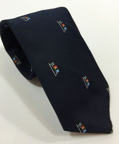 Alynn Neckwear Novelty Tie Nautical Flags USA 1982 100 Polyester 56L Navy Blue | eBay