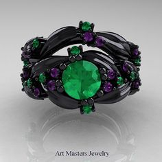 Nature Classic 14K Black Gold 1.0 Ct Emerald by DesignMasters