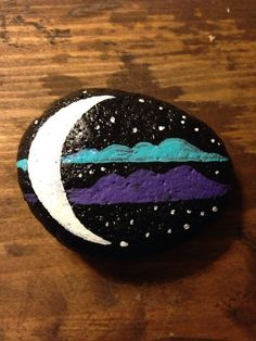 Handpainted Moon phase Stone curios or paperweight. Natural smooth river rock found at a State Park, and painted in rose colors with black tree. Measuring about 2 X 2 – BuzzTMZ Rock Painting Patterns, Rock Painting Ideas Easy, Rock Painting Designs, Paint Designs, Paint Ideas, Pebble Painting, Pebble Art, Stone Painting, Painted Rocks Craft