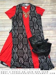 Lularoe red Carly + black & white knit patterned Joy. LuLaroe outfit ideas. LuLaroe Krysta & Linda Bechtold