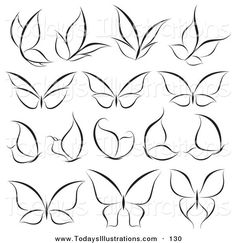 Clipart of a Digital Collage of Black and White Butterfly Logos on ...