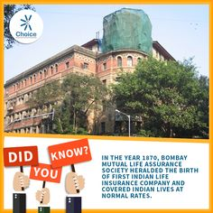#ChoiceBroking #Trivia - In the year 1870, Bombay Mutual Life Assurance Society heralded the birth of first Indian life insurance company and covered Indian lives at normal rates.