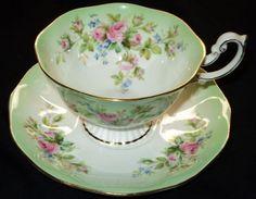 ROYAL ALBERT  RAINBOW GRAND PEDESTAL TEA CUP AND SAUCER MOSS ROSE
