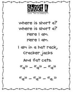 Love these! We are learning short vowels right now, need to print these... - short vowel poems- cute short a poem :)