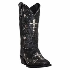 Laredo 52030 Women's Black and Grey Silver Cross Western Boots Cowboy Boots Women, Western Boots, Cowboy Boot Store, Wedding Boots, Boots Store, Thin Blue Lines, Westerns, Black And Grey, Lady