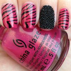Pink and black zebra with caviar :) China Glaze's Strawberry Fields is soooo freakin pretty! - @x_vans