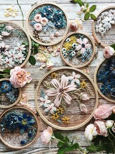 Gorgeous Embroidered hoop of flowers on a crochet mesh #creative #interview with #crochet and #embroidery #artist Andy of O&Y Studio #EmbroideryArt