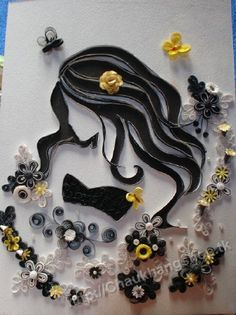 Mẫu tranh quilling -Lovely young woman done in quilling