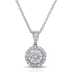Floral Round Diamond Cluster Pendant Necklace 1/2 Carat (ctw) in 10k... ($590) ❤ liked on Polyvore