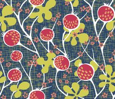 Matisse_Pomegranate fabric by yvonne_herbst on Spoonflower - custom fabric?  Wallpaper for entry stairs?