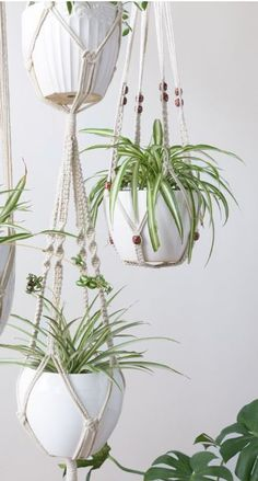 Plants gives a room life, so add your greenery in aerial ways. A hanging planter gives height to a room with shorter walls , hand it where the room gets most light. Decorated Flower Pots, Macrame Plant Hangers, Hanging Planters, Home Decor Accessories, Home Decor Inspiration, Greenery, Diy Home Decor, Walls, Indoor