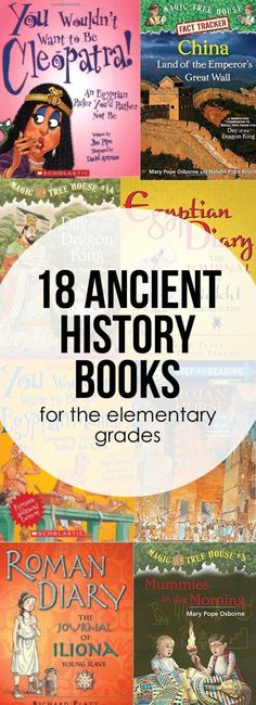 Ancient History Books An Ancient History book list for the elementary grades. Perfect for making history come alive.An Ancient History book list for the elementary grades. Perfect for making history come alive. World History Projects, History Lessons For Kids, World History Classroom, History Activities, Teaching History, History Education, History Books For Kids, Elementary Education, Teaching Tools