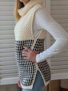 Easy Cowled Sweater Vest Crochet Pattern | Patterns Valley
