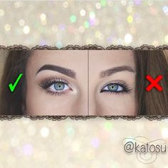To make your eyes look BIGGER, use highlighters and shadows to make them pop. DO NOT USE BLACK EYELINER.