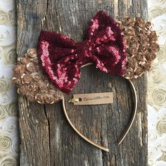 Mouse Ears Burgundy and Copper Mickey Mouse Ears Mouse Ears Minnie Bow, Mickey Mouse Ears, Mouse Ears Headband, Ear Headbands, Red Flowers, Paper Flowers, Red Paper, Black Sequins, Little Red