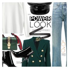 """""""Power Look"""" by chocolate-addicted-angel ❤ liked on Polyvore featuring Balmain, RE/DONE, Gianvito Rossi, Manokhi, Gucci, girlpower, contestentry, 2018, powerlook and gamiss"""