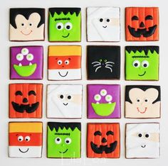 square Halloween cookies