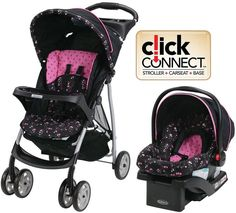 Graco Priscilla Pink Travel System Single Seat Stroller