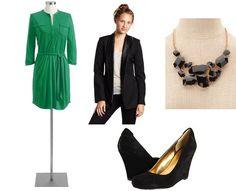 Bright dress, black blazer, wedges, black jewels