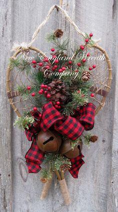 Christmas Wreath, Holiday Wreath, Sleigh Bells, Christmas Swag, Snowshoes, Woodland Holiday, Jingle Bell Door Wreath