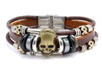 Han Made Bead Pu Leather Bracelets Triple Band Skull Desing 8.5 In