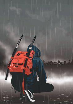 'modern day ninja' Art Print by – People Drawing Urban Samurai, Samurai Art, Arte Ninja, Ninja Art, Fantasy Kunst, Fantasy Art, Character Art, Character Design, Deadpool Art