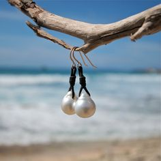 Pearls and leather earings, white pearls earings, Australian white pearls, boho jewelry, beach jewelry, gold wires, leather jewelry on Etsy, $450.00