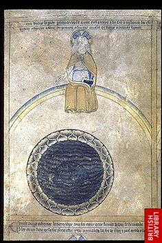 Detail of a miniature in the upper register on the left side, of the First day of Creation, with God creating heaven and earth. Origin:England, S. (Norwich or Durham? Creation Of Earth, Days Of Creation, Medieval Manuscript, Illuminated Manuscript, Voynich Manuscript, Medieval World, Medieval Art, Ancient Myths, Biblical Art