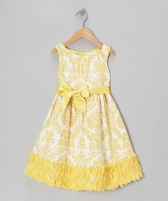 Take a look at this Yellow Damask Evelyn A-Line Dress - Toddler & Girls by Trish Scully Child on #zulily today!