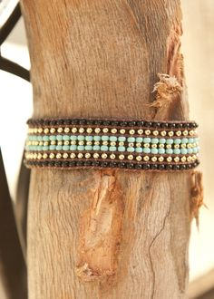 Thick Turquoise and Black Beaded Macrame Bracelet with Gold Plated Beads