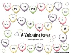 Classroom Freebies: Valentine's Day Sight Word Game Boards// My kids are too old for sight words but I could change the words to that weeks' vocab words Sight Words List, Dolch Sight Words, Sight Word Practice, Sight Word Games, Sight Word Activities, Word Bingo, Valentines Games, Valentines Day Activities, Holiday Activities