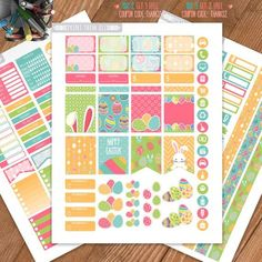 Easter Planner Stickers Printable Weekly by PrintThemAllStudio Printable Planner Stickers, Diy Stickers, Printables, Happy Planner Kit, Planner Ideas, Family Planner Calendar, Summer Planner, Erin Condren Life Planner, As You Like