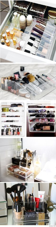 Beautifully Organized: Cosmetics Storage. So need a new method of organizing my makeup other than a linen bin. Drives me crazy digging for 5 minutes to find one thing, using it, then digging for 5 minutes for another. This is practical and reasonable...Just need to know where to get these...we do have them at work.